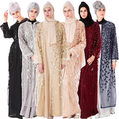 Women Embroidery Lace Open Cardigan Muslim Maxi Abaya Sequin Dress Islamic Dubai