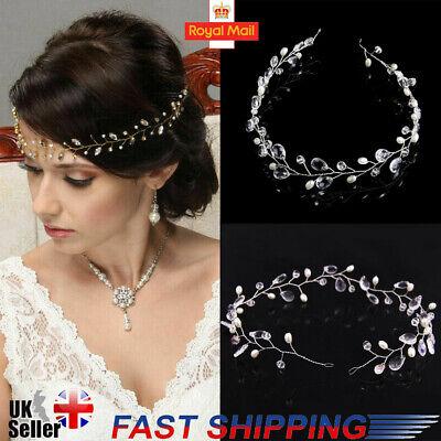 UK 45CM Wedding Hair Vine Bridal Crystl Pearl Headbands Vintage Hair Accessories