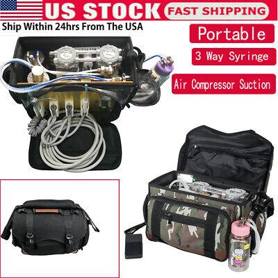 Portable Dental Turbine Unit Air Compressor Suction 3-way Syringe Scaler Bag A