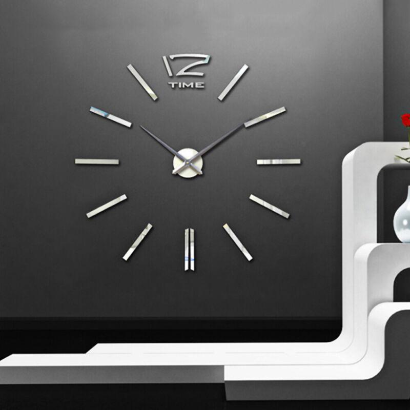 3D Wand Uhr Wohnzimmer wanduhr Spiegel Edelstahl wandtattoo Bürouhr XXL NEU
