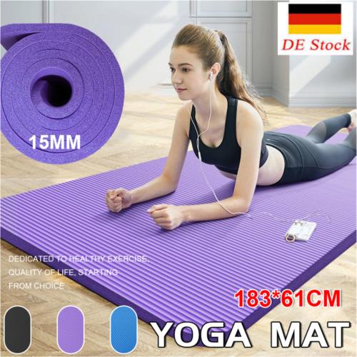 15mm Yogamatte Fitnessmatte Gymnastikmatte Pilates Sportmatte Bodenmatte DE