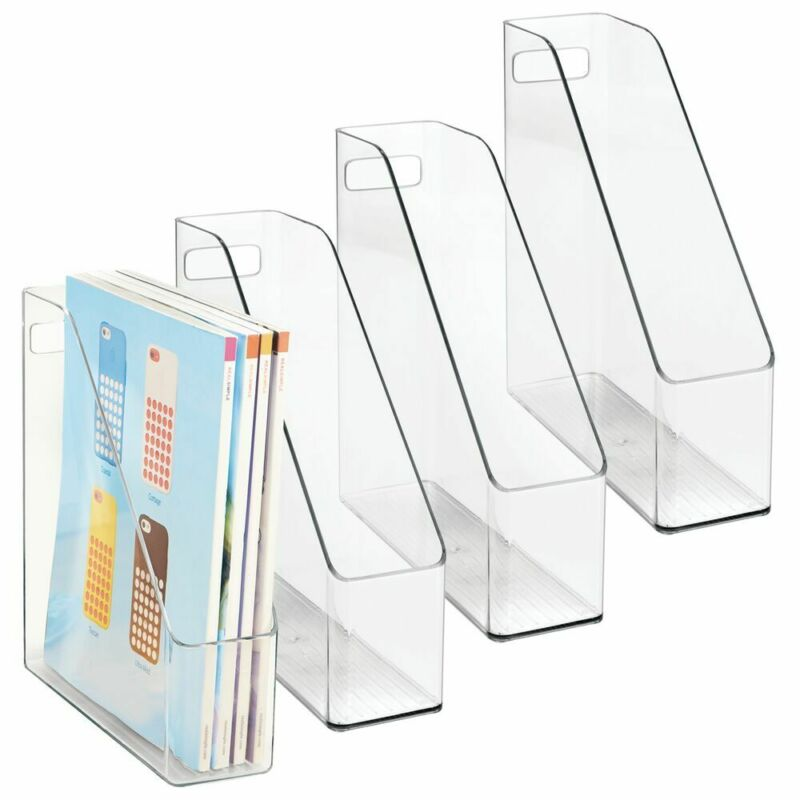 mDesign Plastic File Folder Bin, Home Office Desktop Organizer, 4 Pack - Clear