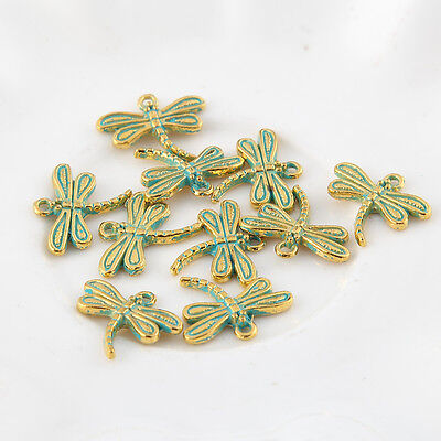 10pcs Dragonfly Bronze Green Charms Bead Pendant DIY Necklace Jewelry 15*17mm](Dragonfly Charms)