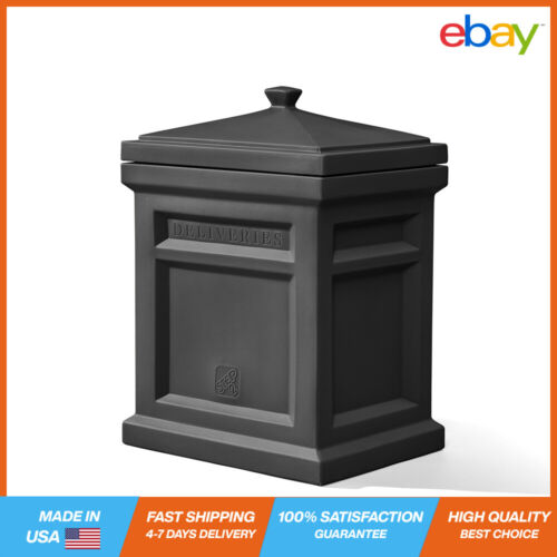 Express Parcel Delivery Box Black Plastic Secure Easy-Open Lid Freestanding