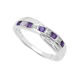 9CT-WHITE-GOLD-AMETHYST-DIAMOND-CHANNEL-SET-ETERNITY-RING-SIZE-I-V-ANNIVERSARY