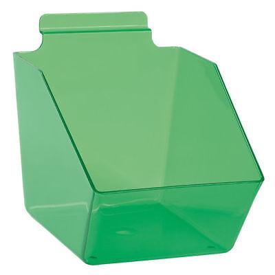 10 Slatwall Bins Dump Acrylic Clear Green 7 X 6 X 5 Plastic Retail Display