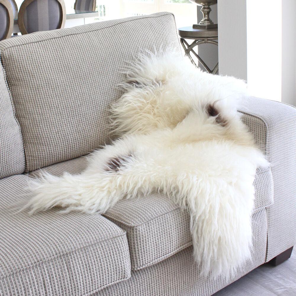 ICELANDIC SHEEPSKIN HIDE BROWN SPOT LONG HAIR SHAGGY WOOL