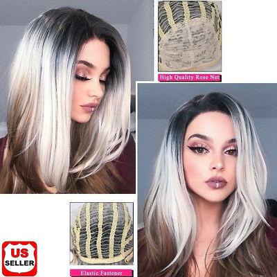 Full Synthetic Ombre Gray Linen Hair Straight Women Wigs with Rose net 18