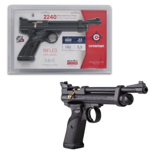 Crosman 2240 CO2 Powered Bolt Action Single Shot .22 Cal Pellet Air Pistol Black