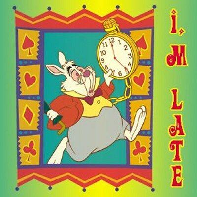 Alice in Wonderland White Rabbit Im Late Button Pin Badge Disney Party Supply](Disney Alice In Wonderland Party Supplies)