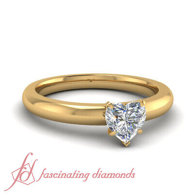 1/2 Ct Heart Shaped Diamond Solitaire Engagement Ring GIA VVS2