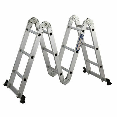 Aluminum Ladder Folding 12 Ft Step Scaffold Extendable Heavy Duty Platform New