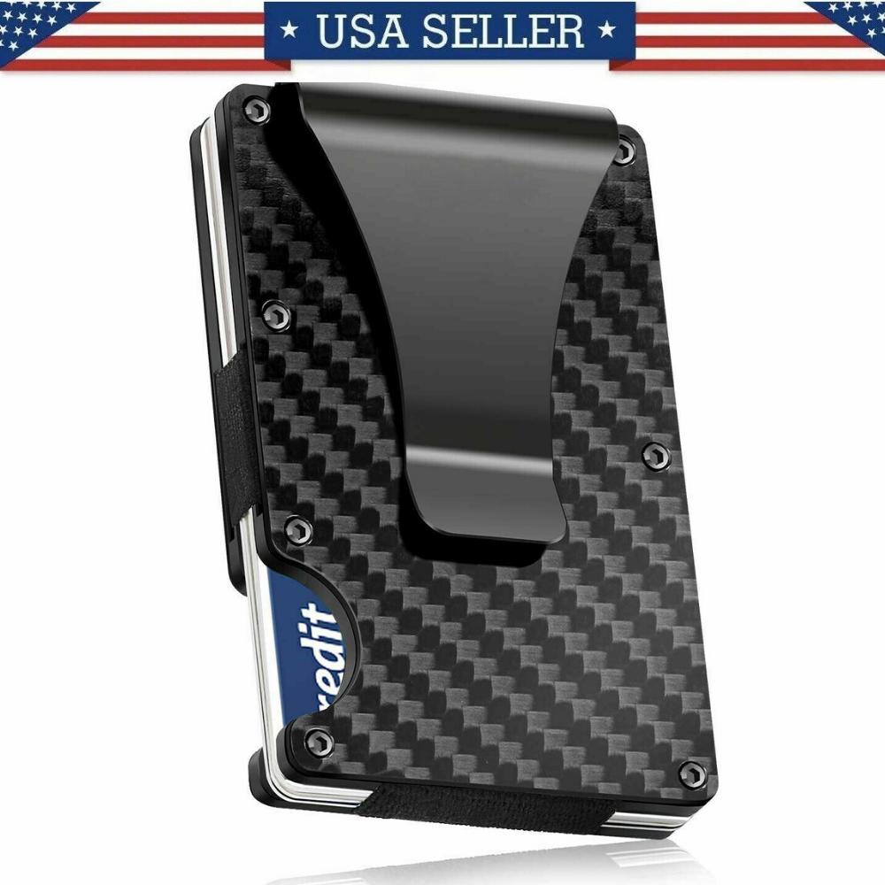Carbon Fiber RFID Blocking Slim Money Clip Card Holder Metal Men's Wallet Gift Jewelry & Watches