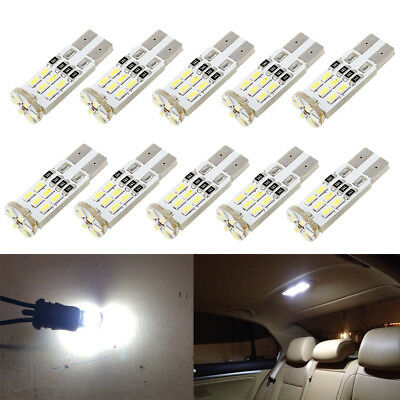 10 x White LED T10 194 168 W5W for Interior Map Dome License Plate Light Bulbs