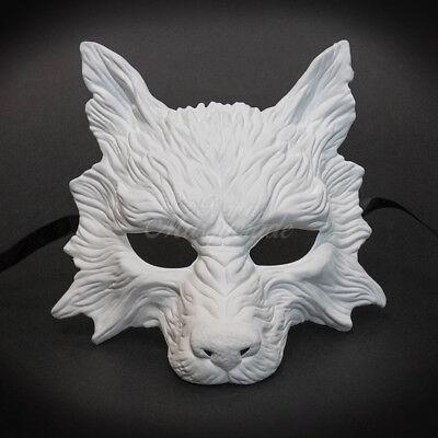 Wolf Animal Masquerade Mask, Men's Masquerade Mask, Halloween White Ball - White Wolf Halloween Mask