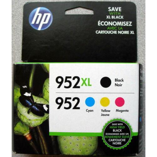 4-PACK GENUINE HP 952XL Black 952 Color Ink