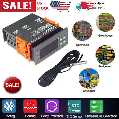 110v 10a Digital Mh1210f All-purpose Temperature Controller With Sensor Usa