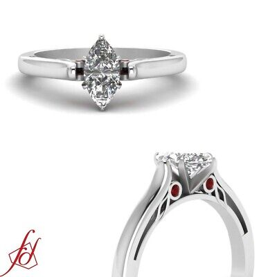 1/2 Ct Marquise Cut Diamond & Red Ruby Bezel Set Engagement Ring VS2-D Color GIA