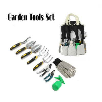 10Pcs Garden Bag Kits Hand Tool Kits with Tote Bag for Gardening Tools