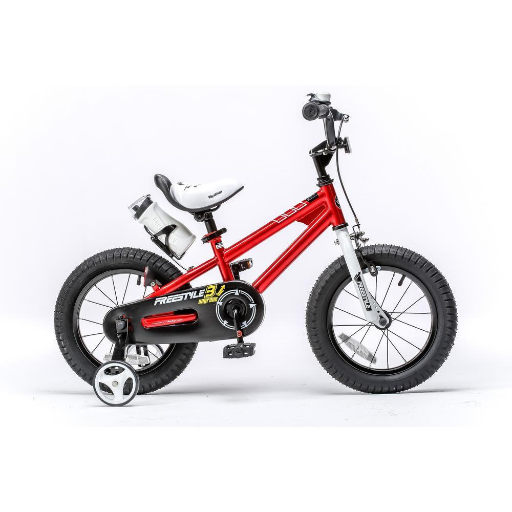 Red Steel Frame 16 in. Wheels Freestyle BMX Kid's Bike with Training Wheels