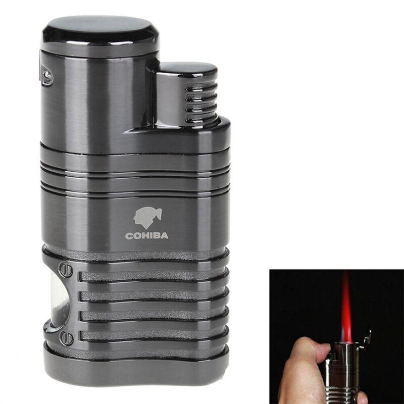 Cohiba 4 Torch Gas Butane Jet Flame Metal Cigar Cigarette Lighter w/ Punch Black