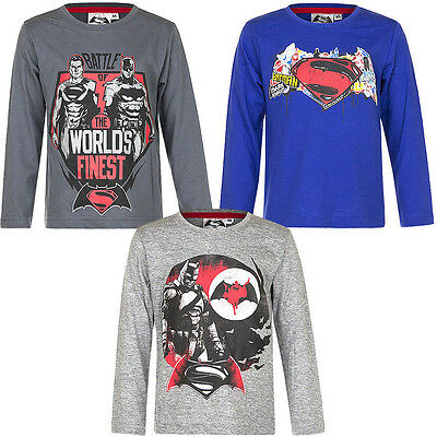 Shirt langarm Pullover Jungen Batman vs. Superman blau grau 104 116 128 140 #121