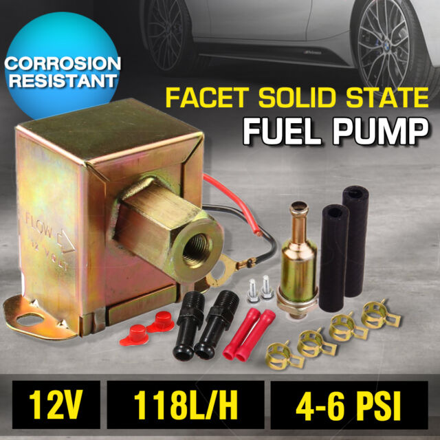 New Electric Fuel Pump 12 volt Solid State 4 to 6psi 130 LPH Petrol Universal AU