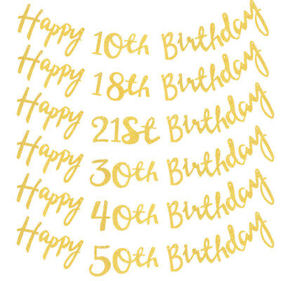 150cm Gold Glitter Sparkly Happy Birthday Party Decor Bunting Banner Garland NEW - Gold Glitter Party Decorations