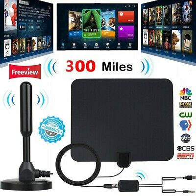 300 Mile HDTV Indoor Antenna Aerial HD Digital TV Signal Amplifier Booster