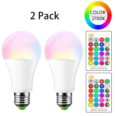 E26 LED Light Bulbs RGB Color Changing 15W A19 Warm White wi