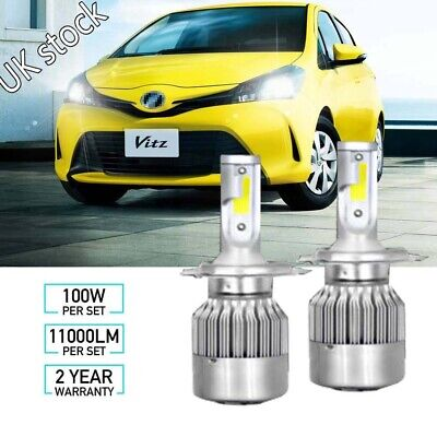 Toyota Yaris Verso 100w Super White Xenon High//Low//LED Side Light Headlamp Bulbs