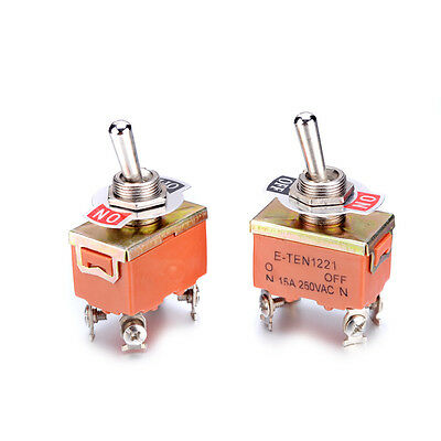 Pack Of 2 Mini Toggle Switch 250v 15a 4 Pins Dpst On-off 2 Position Latching