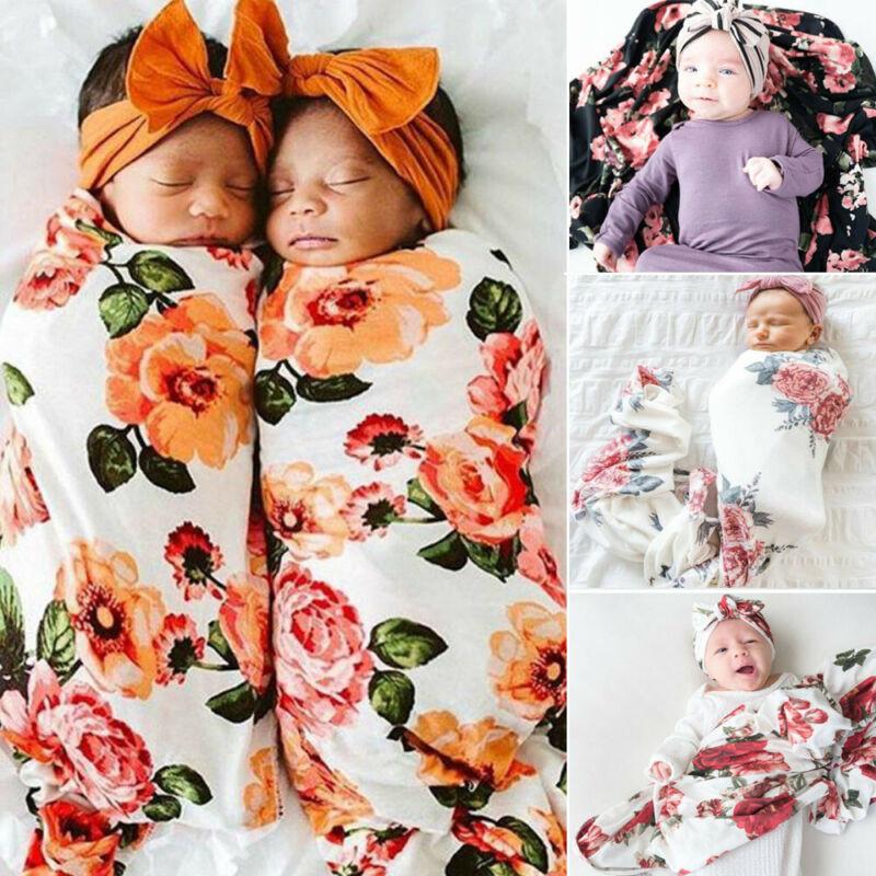 2PCS Infant Baby Boy Girl Floral Swaddle Hat Sleeping Bag Bl