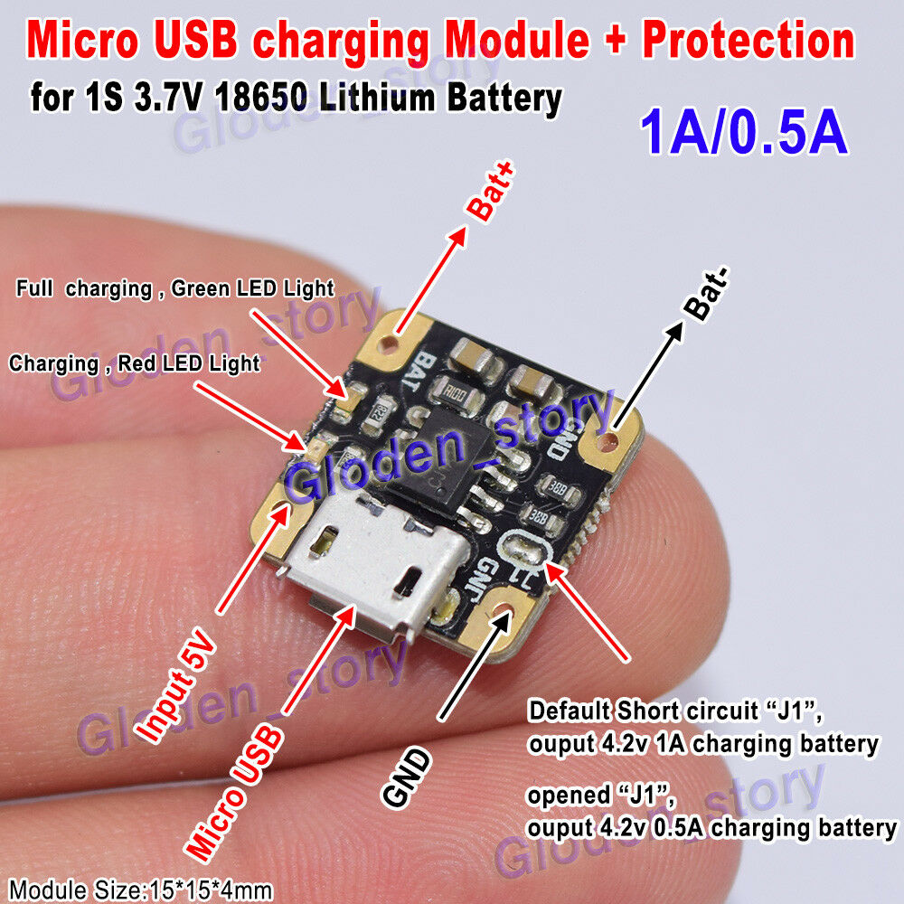 3.7V-5V 1A Mini 18650 Lithium Battery Charging Board USB Charger Power Module