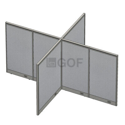 Gof X-shaped4-way Freestanding Office Panel Room Divider 120w X 96d X 48h