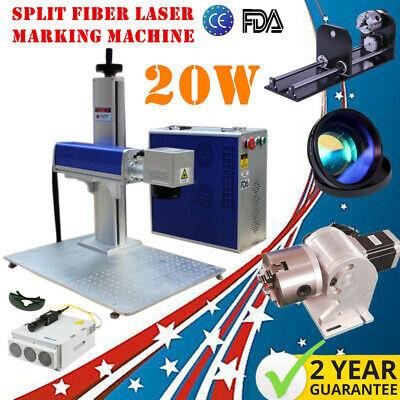 Us Stock 20w Split Fiber Laser Marking Engraving Machine Rotary Axis Include Fda
