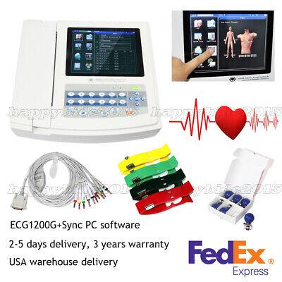 12 Channel 12 Lead Portable Ecg Machine Ecg1200gtouch Screensoftwarefedex