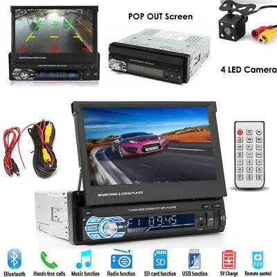 "Single 1Din 7"" Flip Stereo Car Radio Player Touch Screen BT USB SD AUX + Camera"