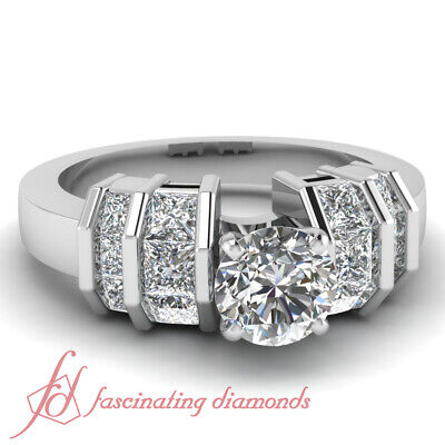 2 Ct Round And Princess Cut Womens Diamond Engagement Rings Channel Set 14K GIA