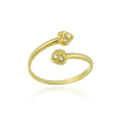 18K Gold Over 925 Silver CZ Double Heart Toe Ring