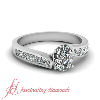 3/4 Carat Platinum Oval Shaped Diamond Rings With Channel Set Round Cuts GIA