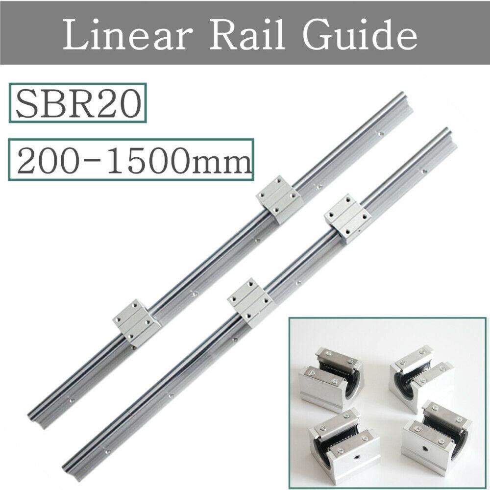 4X SBR20 500mm LINEAR RAIL20MM fully suppoeted SHAFT ROD 4 SBR20UU Block
