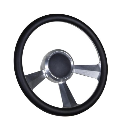 """Boat Billet steering wheel W/Adapter 3 spoke 3/4"""" tapered key Marine Leather"""