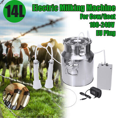14l Electric Milking Machine Vacuum Impulse Pump Stainless Steel Cowgoat