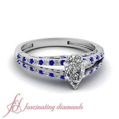 .85 Ct Pear Shaped Diamond And Sapphire Split Band Womens Engagement Rings GIA 1
