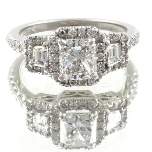 GIA Certified Radiant Cut Diamond Engagement Ring 2.26 Carat 18k White Gold