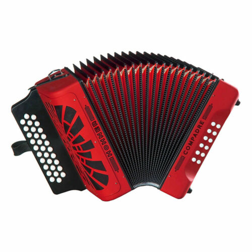 NEW Hohner COGR Button Accordion Compadre GCF With Gig Bag Straps Red & SILVER