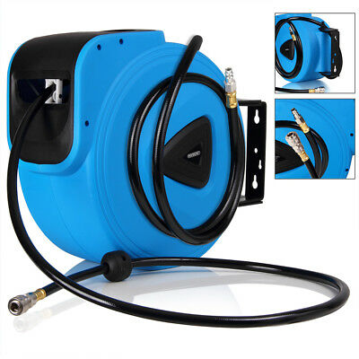 "Compressed Air Hose Reel 20m 1/4"" Compressor Pneumatic Drum Garage Workshop Wall"