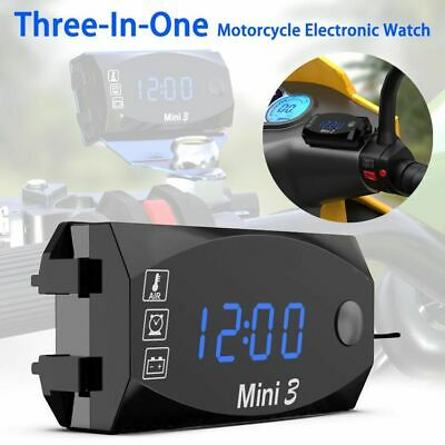 Universal Led Motorcycle Electronic Clock Thermometer 3-1 Waterproof Dust-proof