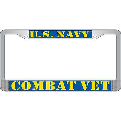 "U.S. NAVY COMBAT VET Metal Chrome License Plate Frame Veteran ""Made in the USA"""